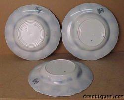Set of 3 c1890 LOIS Pattern New Wharf Pottery Flow Blue Rim Soup Bowls