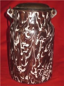 Graniteware Cream Milk Can Rich Chocolate Brown Gorgeous Best