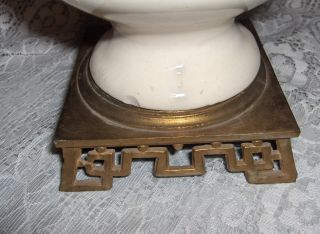 Vintage White China Table Lamp Greek Key Brass Base 1940s