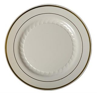 10 DINNER PLATES 120 PIECES MASTERPIECE STYLE SILVER/GOLD RIMMED #510