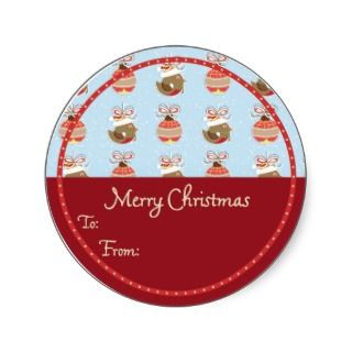 Round Robin Christmas gift tag Sticker