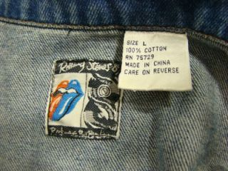 VINTAGE ORIGINAL THE ROLLING STONES STEEL WHEELS TOUR JEAN JACKET 253