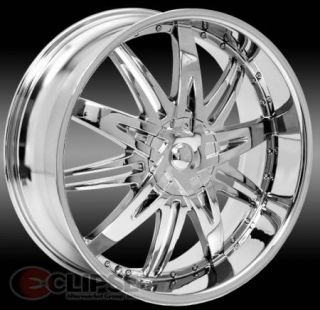 22x8 Chrome Elure 007 Wheel Rims 5 Lug Front Wheel Drive Cars 5x114 3