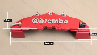 Front Universal Disc Brake Calipers Cover Brembo Style Medium Red 3D