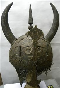 Old Indo Persian Islamic Demon Devil Face Warrior Horn Helmet