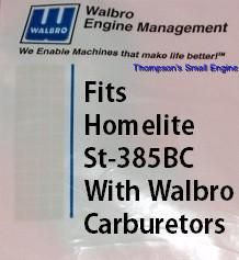 Carburetor Kit Fits Homelite Trimmer ST 385BC Replace Homelte #A 03003