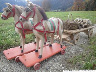 Antique Horse Team w 2 Antique Horses Antique Wooden Cart Coach