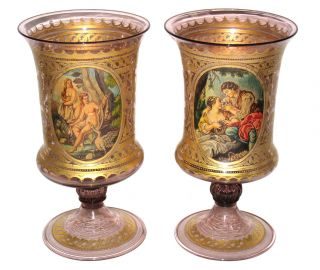 Pair Antique Venetian Classical Parcel Gilt Glass Vases