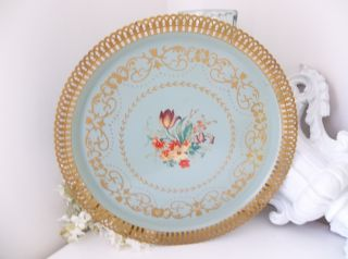 Big Fancy Gold Lacey Rim Vintage Ornate Floral Soft Blue Toleware Tole