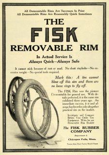 1911 Ad Fisk Rubber Company Removable Rim Tire Car Part Accessory