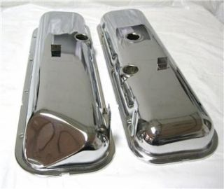 BB Chevy Chrome Short Valve Covers Recessed Corner 396 427 454