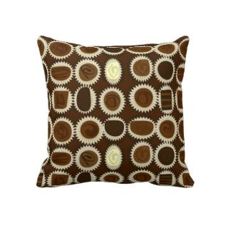 Chocolate Variety Sampler Pattern Small Throw Pillows