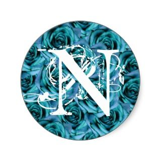 Monogram Letter N Blue Roses Sticker
