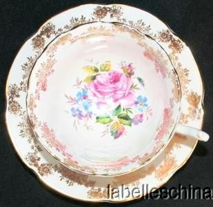 Collingwood Teacup and Saucer Summer Flowers and Pink Rose Gold Gilt