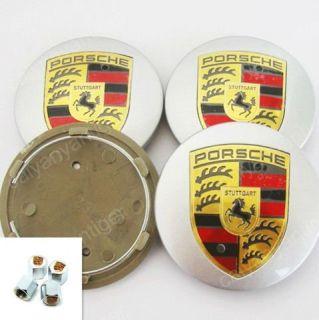 Color Porsche 911 Emblem Wheel Hub Center Caps Covers Tire Valve Stems