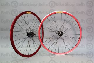 Velocity Deep V Track Wheels Red Anodized Fixed Gear 700c