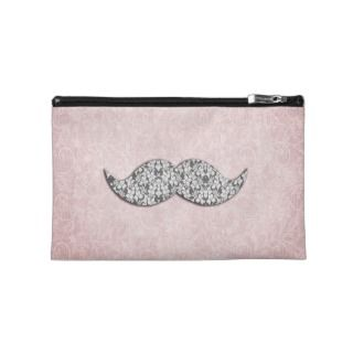 Girly Floral Lace Mustache pink floral lace Travel Accessory Bag