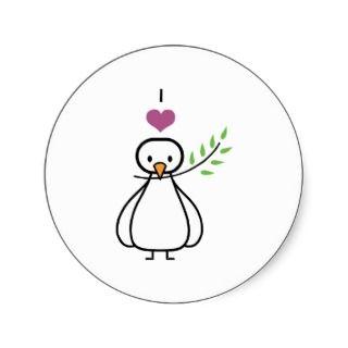 Dove ~ I Love Peace Bird Cartoon Stickers
