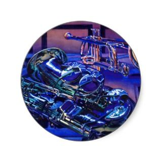 Jazz In Blues Musical Instruments Watercolor Sticker