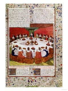 The Round Table and the Holy Grail, Gaultier Map, 1470 Giclee Print at