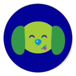 Lime Green Puppy Dog Round Sticker