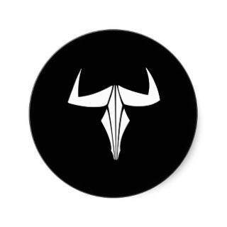 Black Tribal Bull Tattoo Round Stickers
