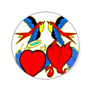 Swallows and Hearts Tattoo Round Sticker