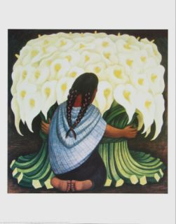 The Flower Seller Print by Diego Rivera