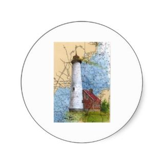 Tawas Pt Lightouse MI Lake Huron Nautical Chart Sticker