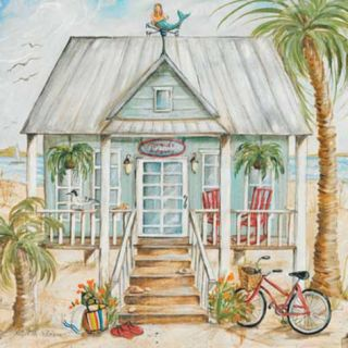 Green Beach House Print