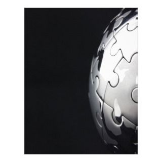 Chrome globe with black background letterhead template