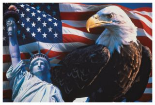 American Flag, Eagle and Statue of Liberty Premium Giclee Print