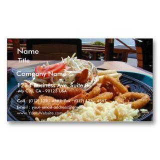 Bays Food Fried Clamari Fish Rice Plate Business Card