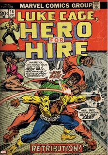 Marvel Comics Retro Luke Cage, Hero for Hire Comic Book Cover #14, Fighting Big Ben (aged) Stretched Canvas Print