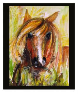 Stallion In Tall Grass Painting Giclee Print by Ginette Callaway