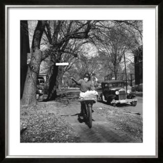 Kid Football Player Delivering Newspapers Pre made Frame