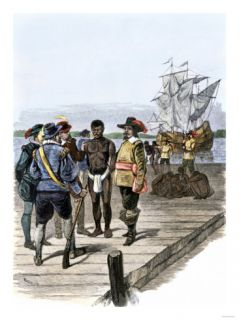 Introduction of African Slaves into Virginia Colony at Jamestown, 1600s Giclee Print