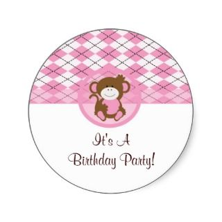 monkey sticker pink brown cute sweet birthday