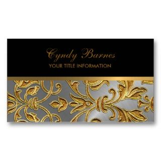 Any Color with Gold Damask Business Card