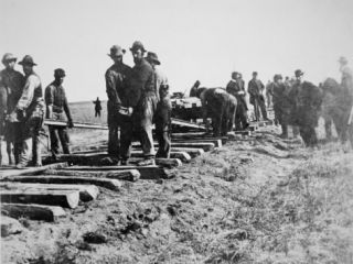 Track Layers Gang Building the Union Pacific Railroad Through American Wilderness, 1860S Photographic Print
