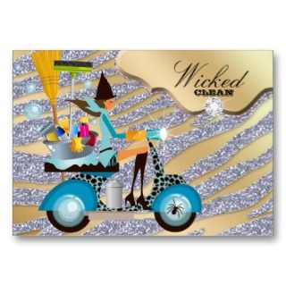 Cleaning Business Card Zebra Silver Gold Witch
