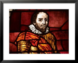 Close up of Shakespeare in an Illuminated Stained Glass Window Pre made Frame