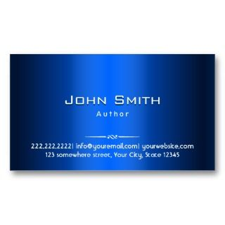 Royal Blue Metal Author Business Card