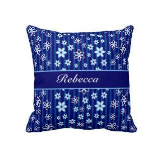 Personalized Floral blue and white patterned Pillows