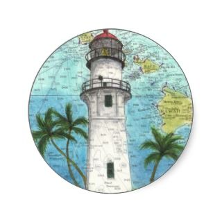 Diamond Head Lighthouse HI Chart Art Cathy Peek Sticker