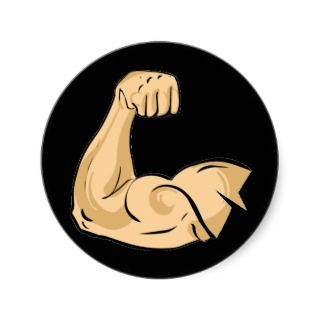 CARTOON MUSCLES MAN strong arm biceps athletic pow Stickers