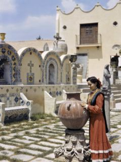 Mexican Woman Wearing a Ranch Dress Stands in an Ornate Courtyard Photographic Print by Richard Hewitt Stewart