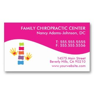 These two tone customizable chiropractic business cards feature a