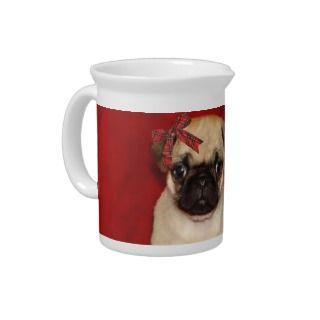 Christmas pug puppies pitcher