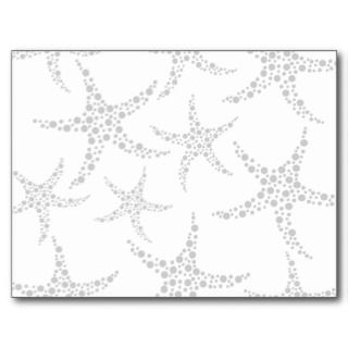 Starfish Pattern in Light Gray and White Post Card